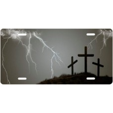 Three Crosses and Lightning on Gray License Plate