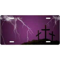 Three Crosses and Lightning on Purple License Plate