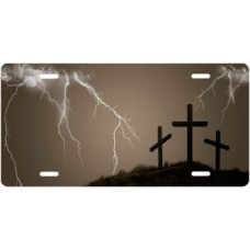 Three Crosses and Lightning on Mocha License Plate