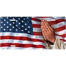 Praying Hands on American Flag Offset License Plate