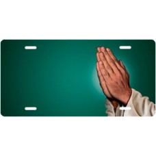 Praying Hands on Green Offset License Plate