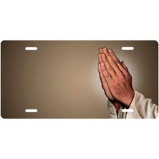 Praying Hands on Mocha Offset License Plate