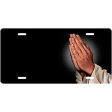 Praying Hands on Black Offset License Plate
