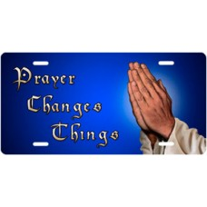 Prayer Changes Things Praying Hands on Blue Offset License Plate
