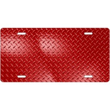 Red Diamond Plate License Plate