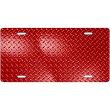 Red Diamond Plate License Plate