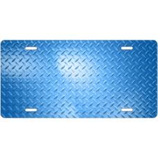 Blue Diamond Plate License Plate