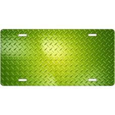 Green Diamond Plate License Plate