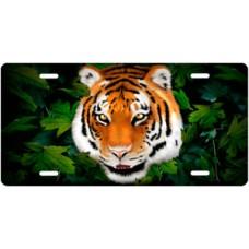 Tiger on Leaves License Plate