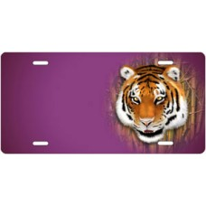 Tiger on Purple Offset License Plate