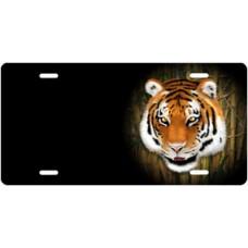 Tiger on Black Offset License Plate
