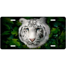 White Tiger on Leaves License Plate