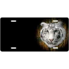 White Tiger on Black Offset License Plate