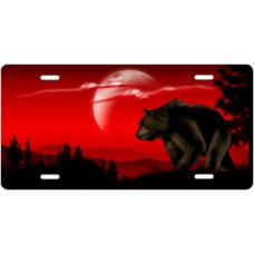 Bear on Red Offset License Plate