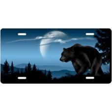 Bear on Blue Offset License Plate