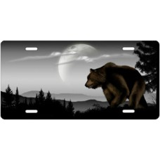 Bear on Gray Offset License Plate