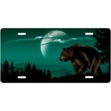 Bear on Green Offset License Plate