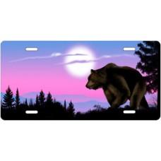 Bear on Purple Offset License Plate