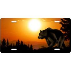 Bear on Orange Offset License Plate
