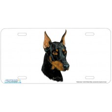 Dobermann Airbrushed License Plate