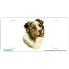 Australian Shepherd Dog Airbrushed License Plates