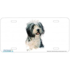 Bearded Collie Dog Airbrushed License Plates