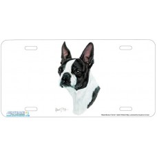 Black Boston Terrier Airbrushed License Plate