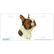 Brown Boston Terrier Airbrushed License Plate