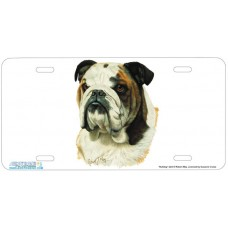 Bulldog Airbrushed License Plate