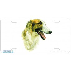 Borzoi Airbrushed License Plate