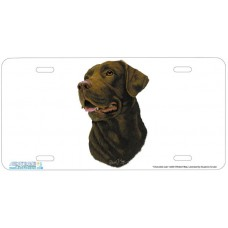 Chocolate Lab Airbrushed License Plate
