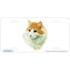 Red & White LH Cat License Plate