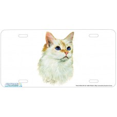 Red & White SH Cat Airbrushed License Plate