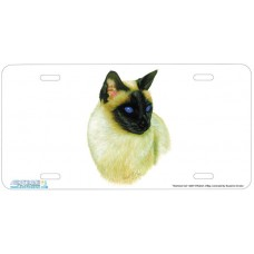 Siamese Cat Airbrushed License Plate