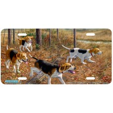 Eager Beagles Dog Airbrushed License Plates