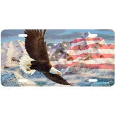 The Height of Freedom Patriotic Eagle USA Airbrushed License Plate