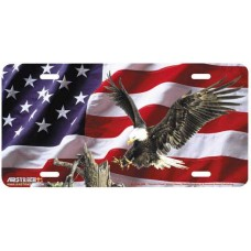 """""""Patriotic Power"""" Eagle w/ USA Flag irbrushed License Plate"""