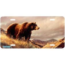 """Fresh Air"" Brown Bear Airbrushed License Plate"