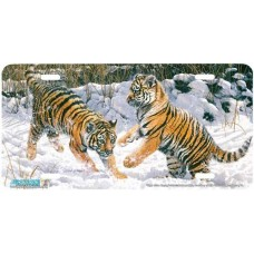 """""""Tiger Cubs Playing"""" Tiger Airbrushed License Plate"""