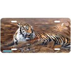"""""""Tiger in Water II"""" Tiger Airbrushed License Plate"""