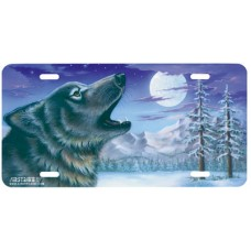 Cry of the Wolf to the Moon Airbrushed License Plate