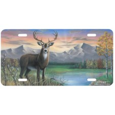 White Tail Buck- Deer w/ River & Mountains Airbrushed License Plate