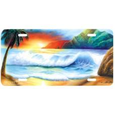 Hawaiian Sunset Airbrushed License Plate