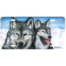 Arctic Wolves Airbrushed License Plate