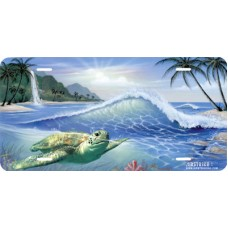 Pacific Sea Turtle by Beach Airbrushed License Plate