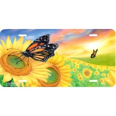 Sunflower Dreams Airbrushed License Plates Butterfly