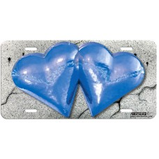 Blue Metallic Hearts Airbrushed License Plate