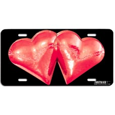 Red Metallic Hearts Airbrushed License Plate