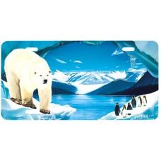 Polar Icelands Polar Bear Airbrushed License Plate