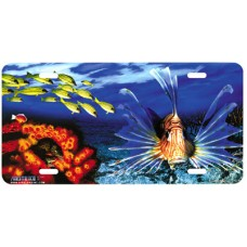 Lionfish Banks Coral Tropical Fish Airbrushed License Plate